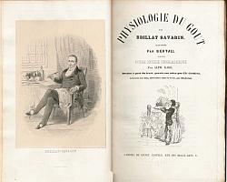 Deckblatt der Physiologie du goût mit einem Porträt Brillat-Savarins (1848)